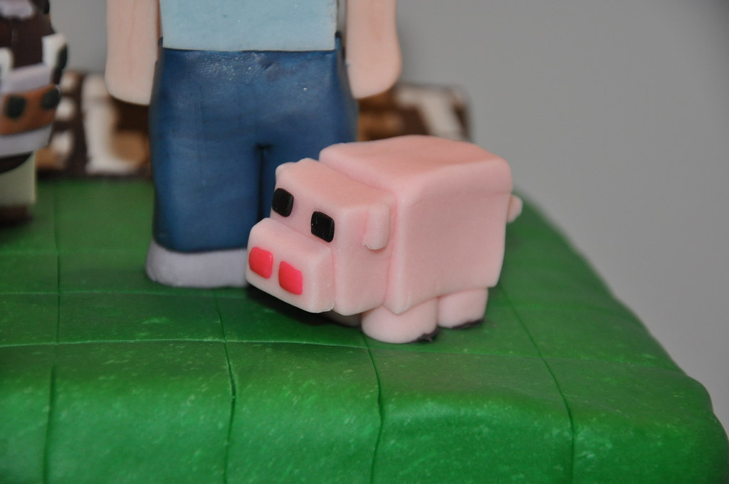 Minecraft Pig Cake Images : Fondant Minecraft Pig Minecraft Birthday Cake done for ...