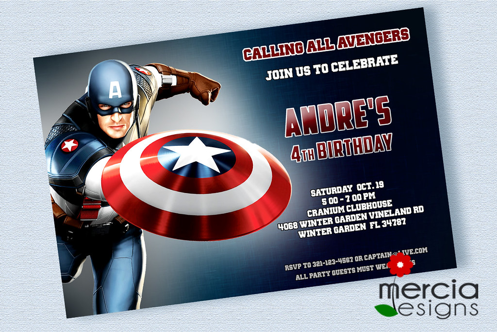 Captain America Birthday Invitations | Mercia Designs | Flickr
