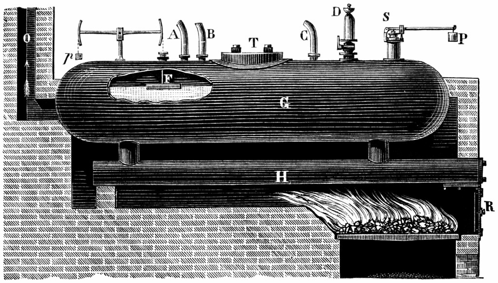 G n rateur de vapeur gravure d un g n rateur de vapeur - Generateur de vapeur ...