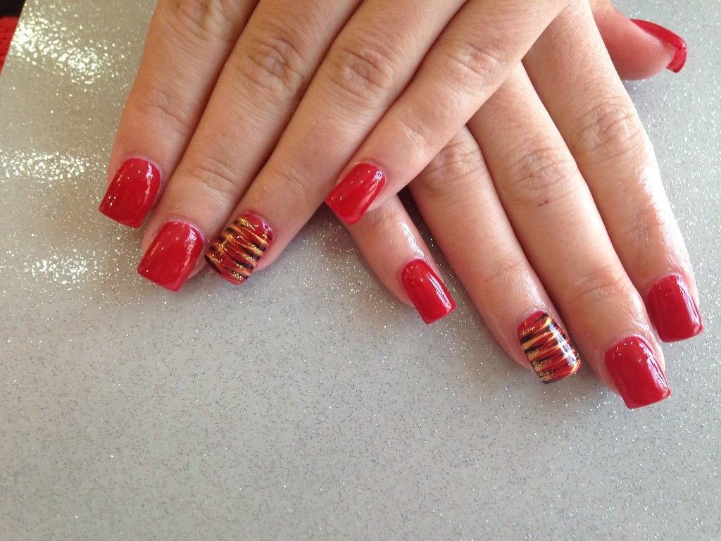 Acrylic nails a kiss in Paris red gel polish | Joanne ...
