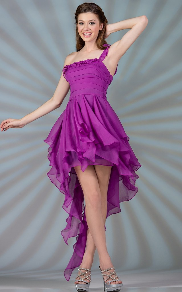 Purple Ruffle Dress for Prom Homecoming or Bridesmaids ...