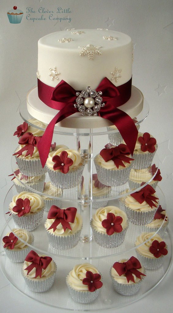 Ivory and Burgundy Wedding Cupcakes Set up today, but ...