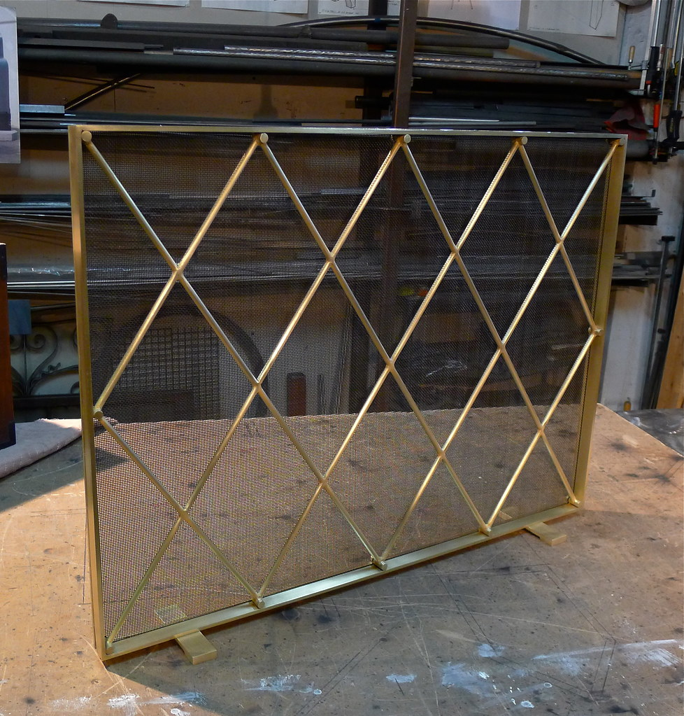 mid century modern style fireplace screen brass plated