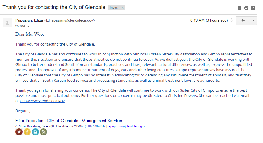 [Update February 14, 2017] Once again supportive Glendale responds to call to action against the dog meat trade.