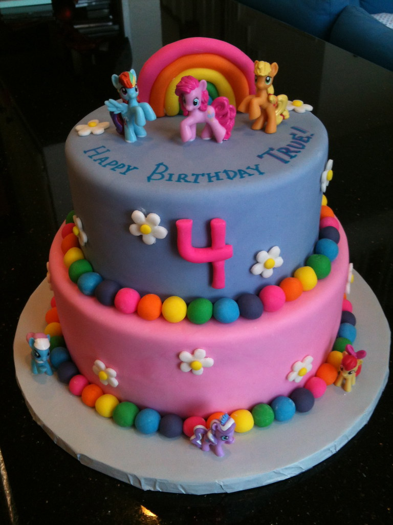 Cake Designs For 4 Year Girl : Birthday Cake For a 4 Year Old My Little Pony Theme ...