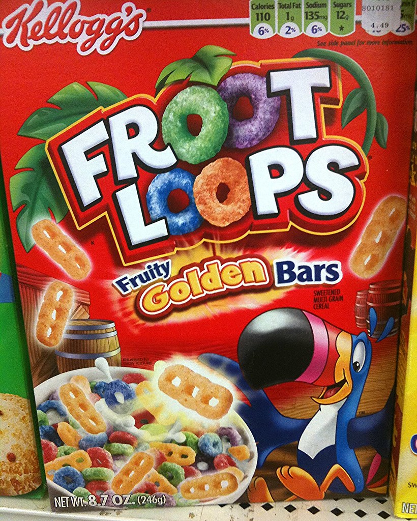 """Froot Loops With """"Fruity Golden Bars"""" Breakfast Cereal Pic"""
