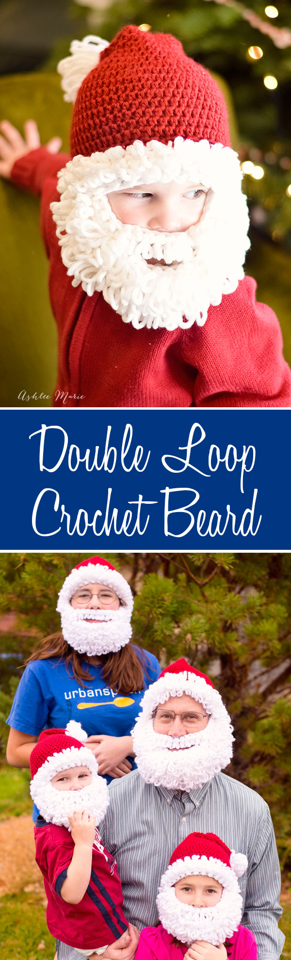a free pattern for a double loop crochet beard in multiple sizes, perfect for Santa or any other beard