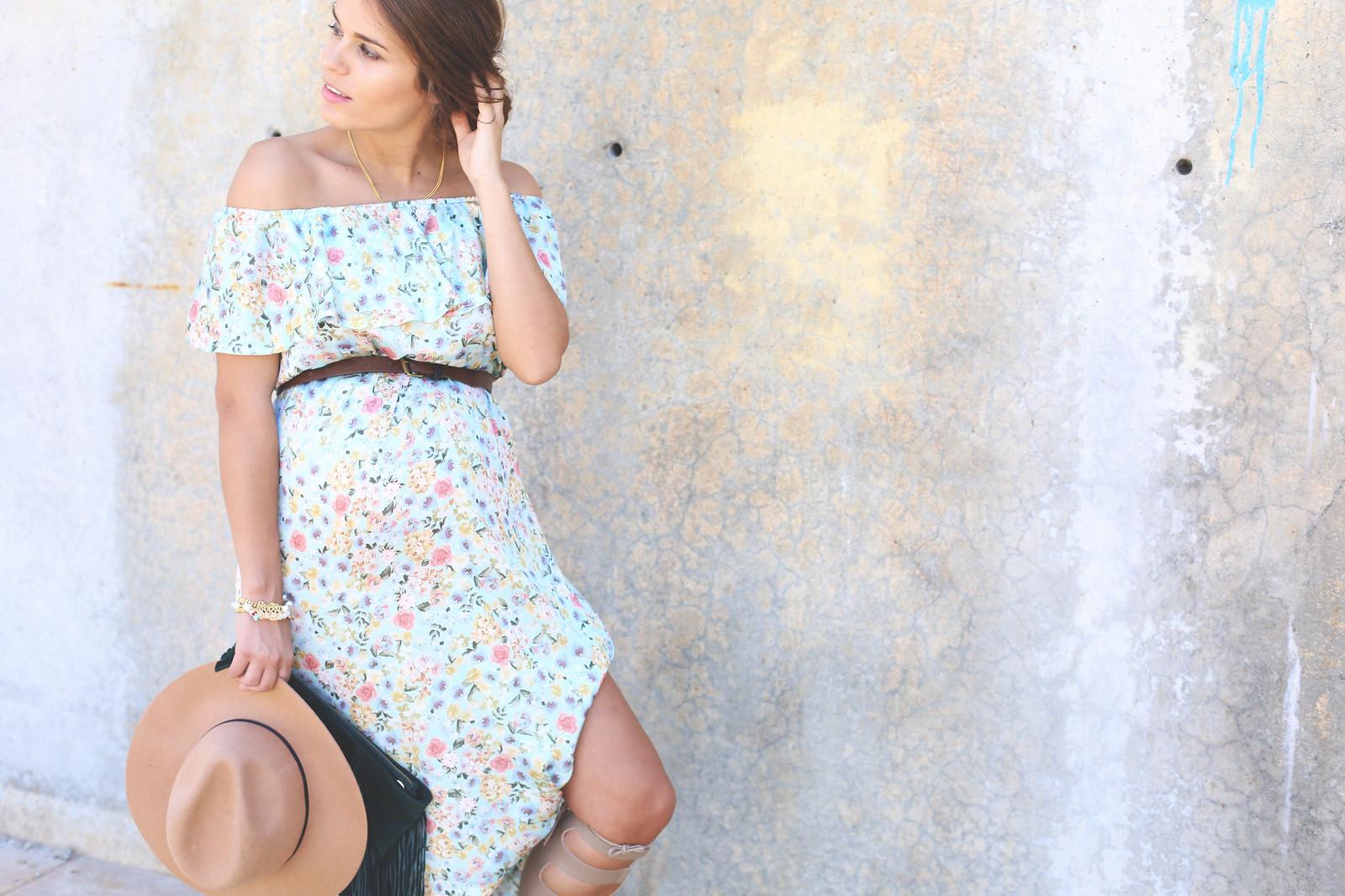 6. floral print long dress - jessie chanes - pregnancy
