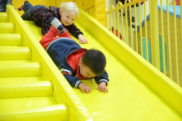 Isaac Sliding Down Foam Slide Head First  Blonde Kid Follo