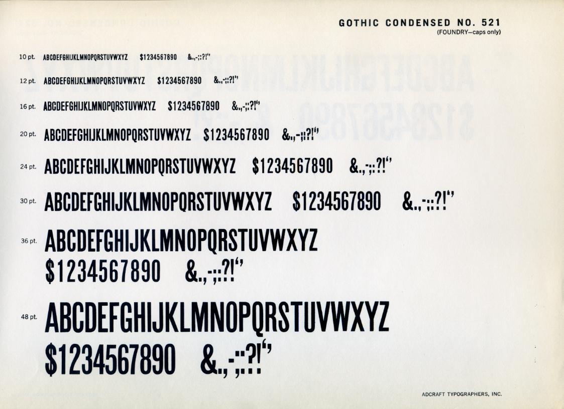 Gothic Condensed 521 Type Specimen