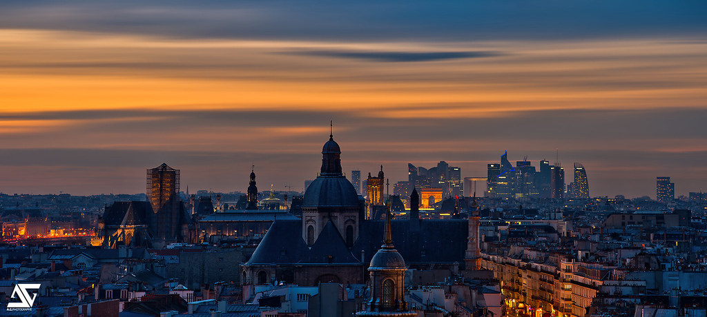 Paris from op ra bastille arc de triomphe la d fense par flickr for Photographe la defense