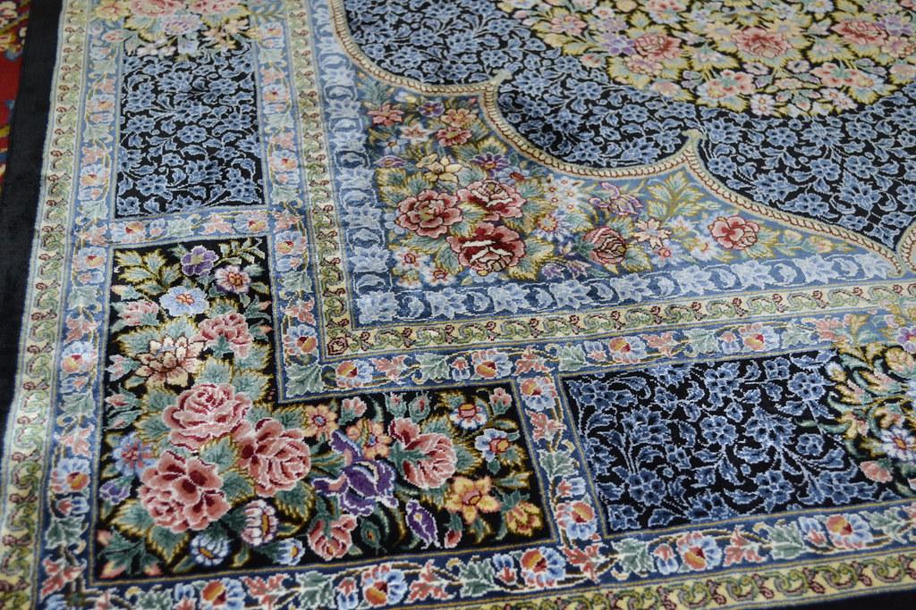 Qum Pure Silk Persian Rug Blue 3x5 Masterpiece 1000 KPSI (4)