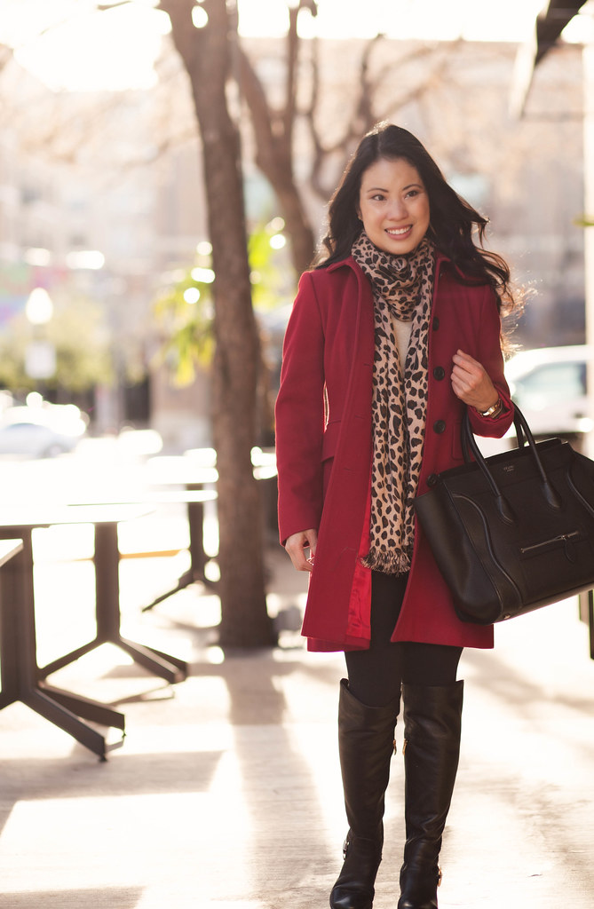 Cute u0026 little blog | red wool coat leopard scarf lululemu2026 | Flickr