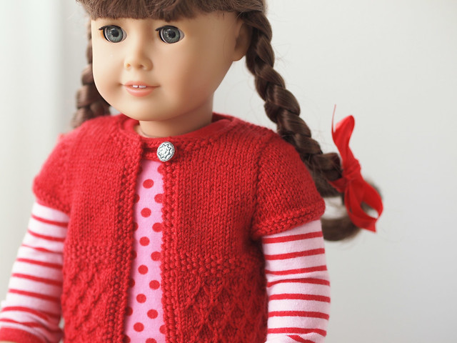 """Butterfly"" Short Sleeve Cardigan for American Girl Dolls"