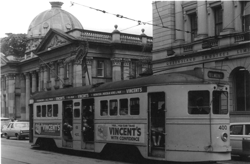 Brisbane tram outside the Customs House in 1968