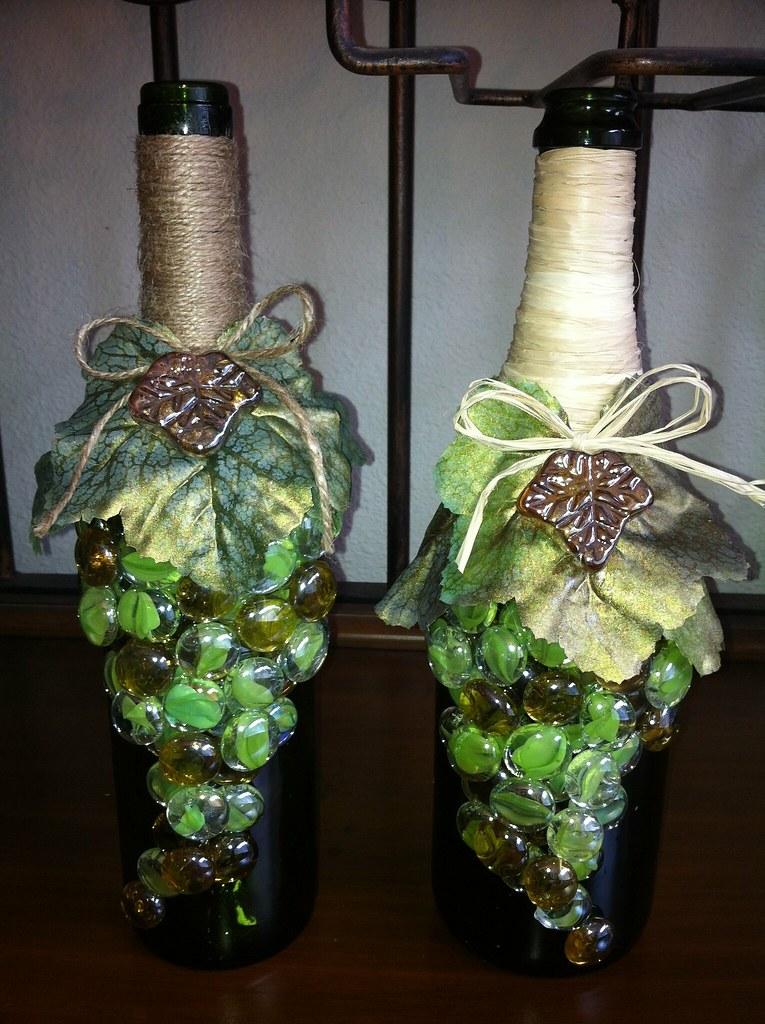 Wine bottle craft shelly flickr for Wine bottle crafts for sale
