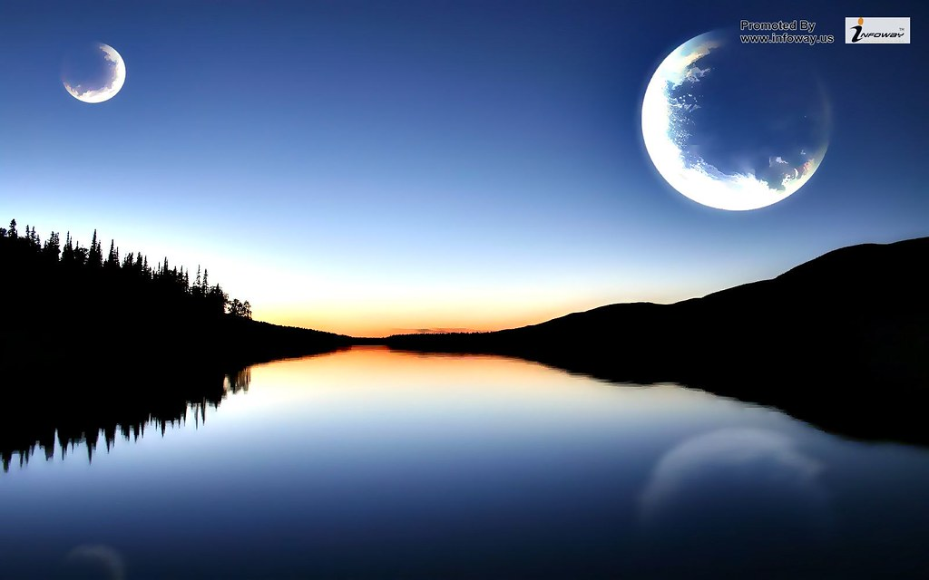 Moon Sunset Mountains Lake Natural Wallpapers Moon Sunset Flickr