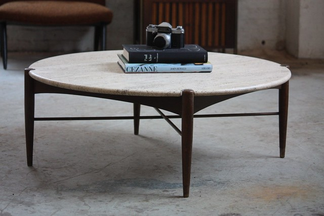 Blissful Bruno Mathsson Swedish Mid Century Modern Round Travertine Brass Coffee Table Sweden