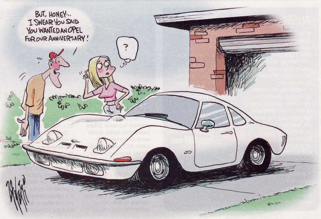 1969 Opel Gt Cartoon A Cartoon Done In The Unique Cars