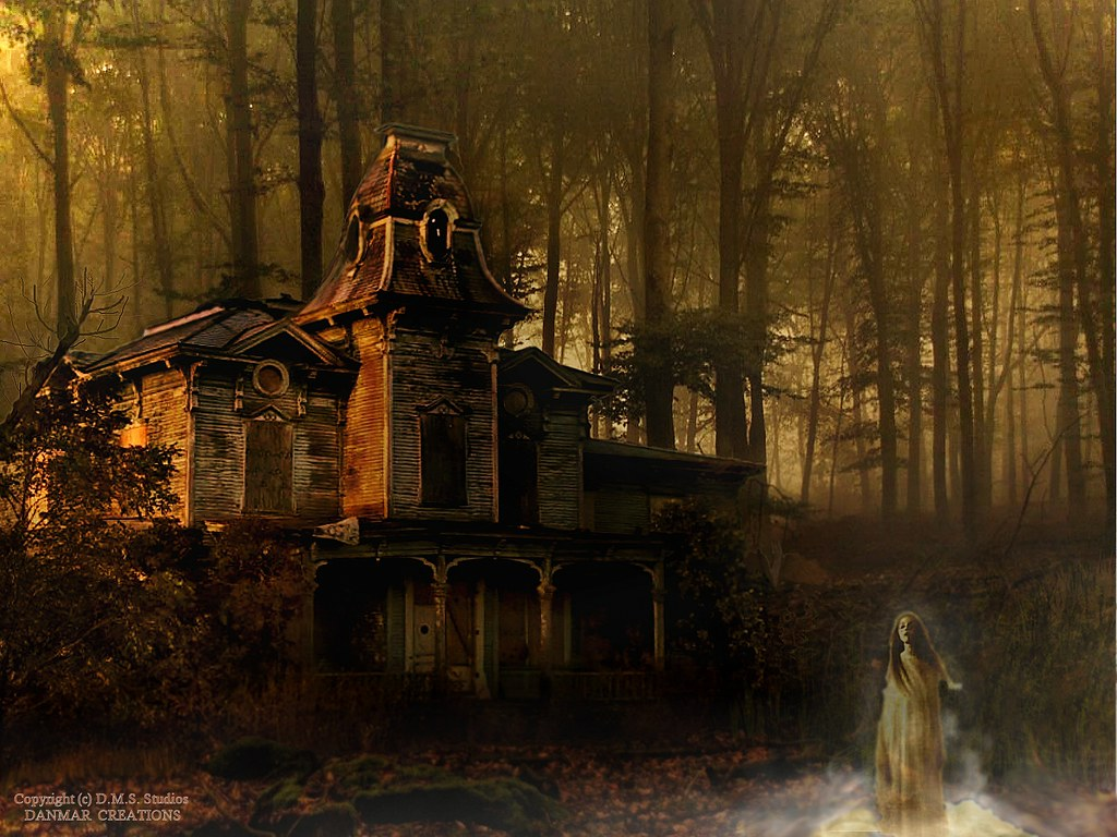 Haunted House In A Spooky Forest With Ghost By DMS 01