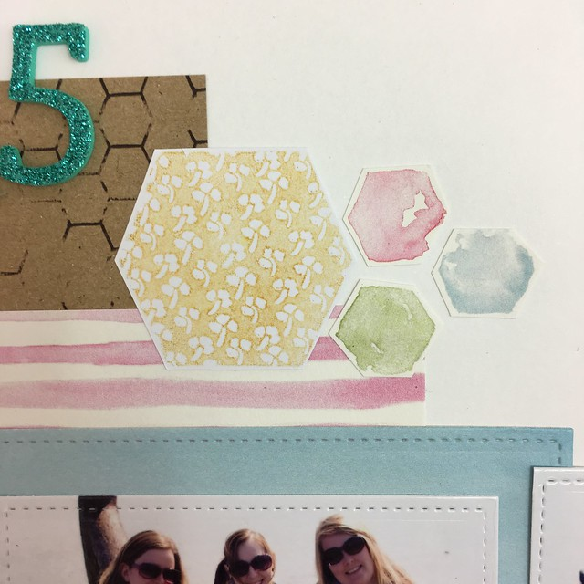 StickerKitten Bee Garden scrapbook page - hexagon stamp closeup