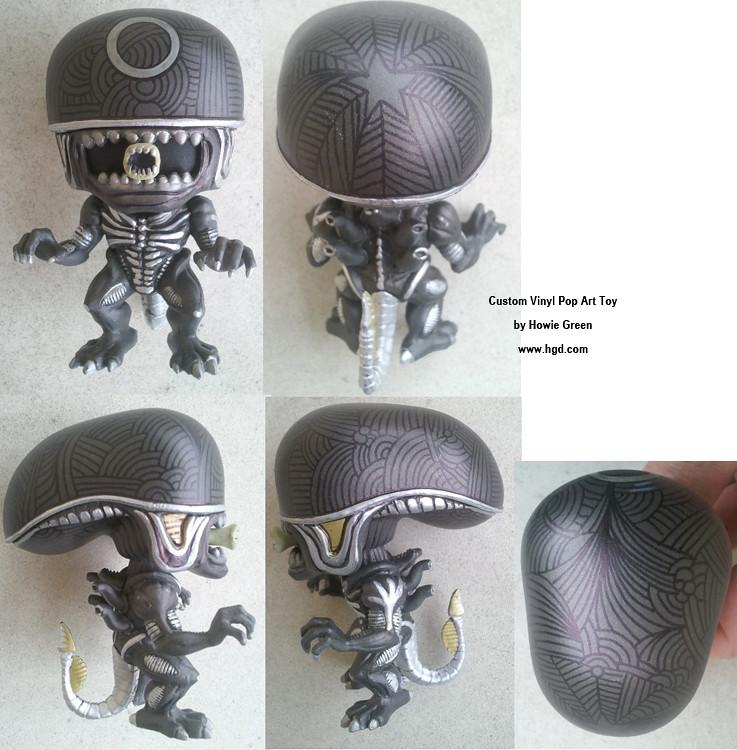 Funko Pop Black Alien Custom Vinyl Art Toy By Howie Green