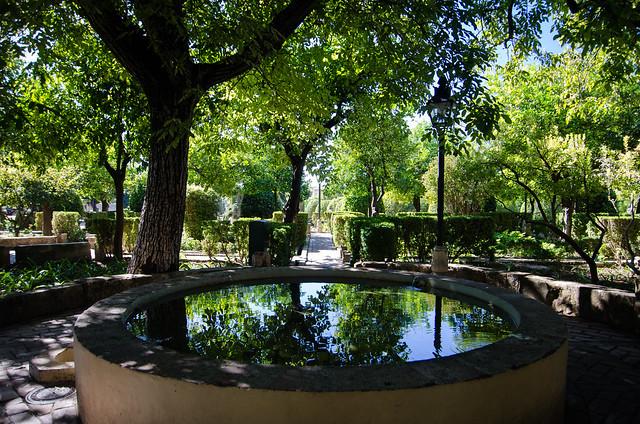A quiet spot at Alcázar de los Reyes Cristianos, also known as the Alcázar of Córdoba.