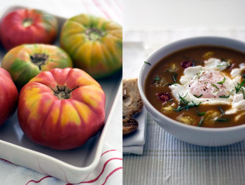 Sopa de cenoura e tomate assado (com ovo escalfado)