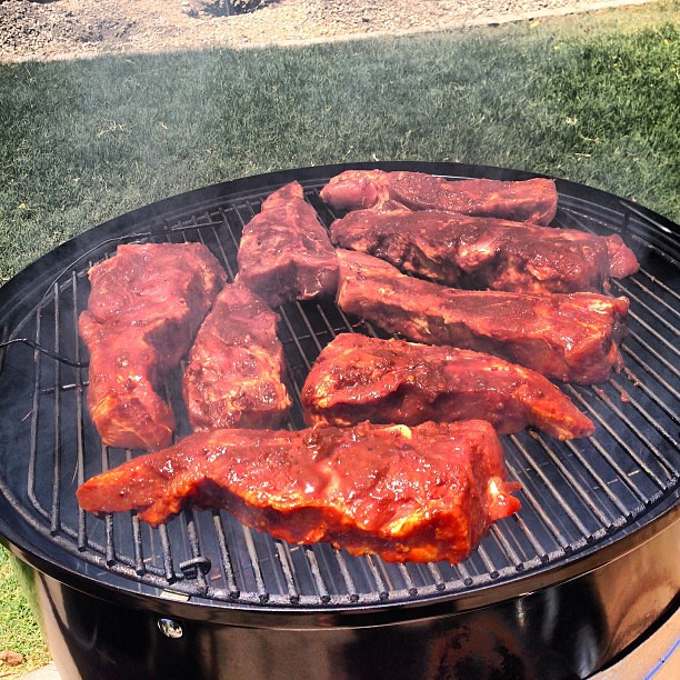 Country Style Pork Ribs in a #weber smokey mountain. #grill #bbq # ...