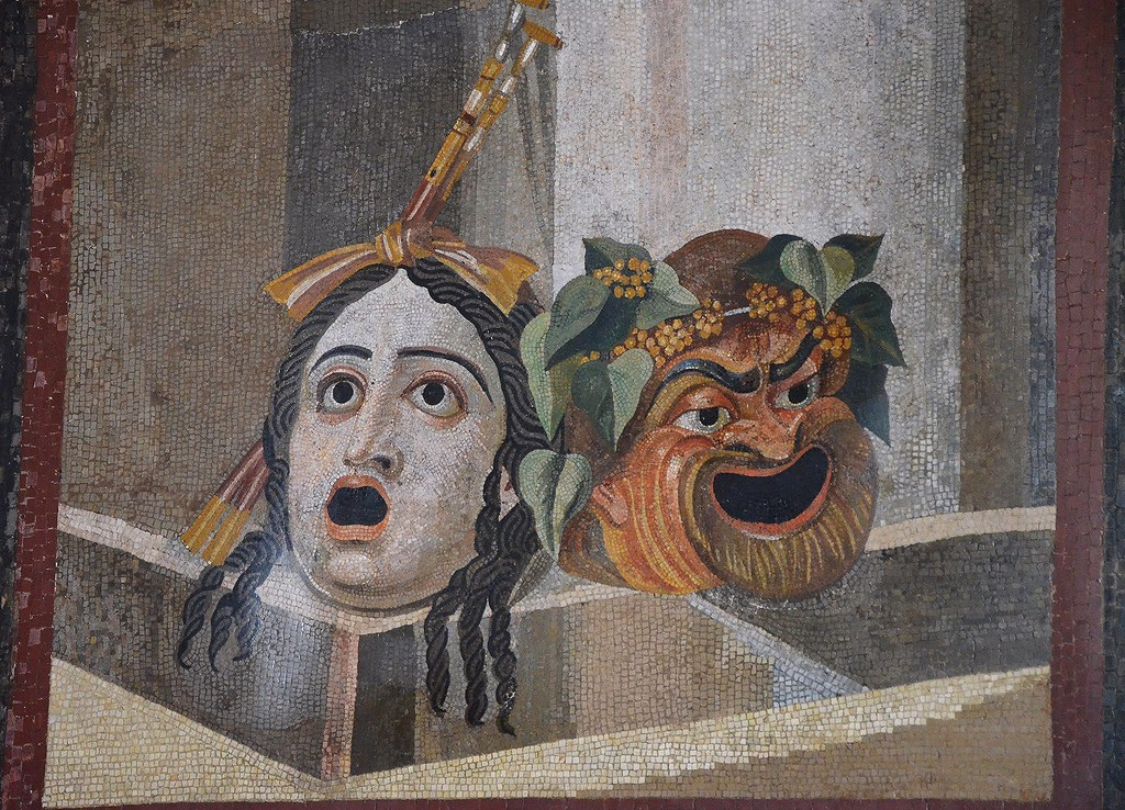 Mosaic Depicting Theatrical Masks Of Tragedy And Comedy 2