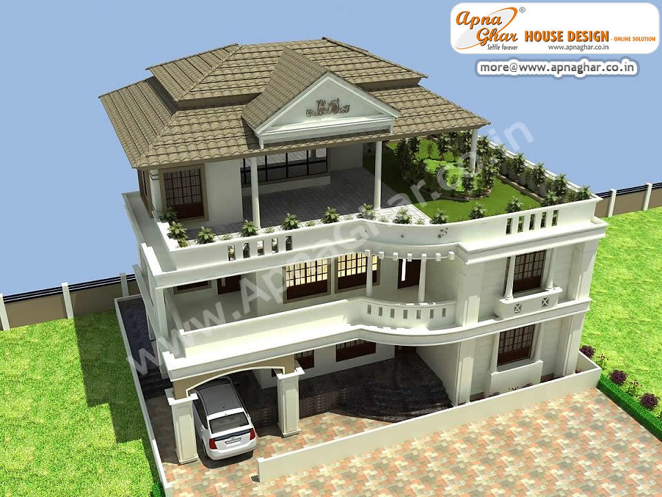Beautiful triplex house house design beautiful triplex for Beautiful 5 bedroom house plans with pictures