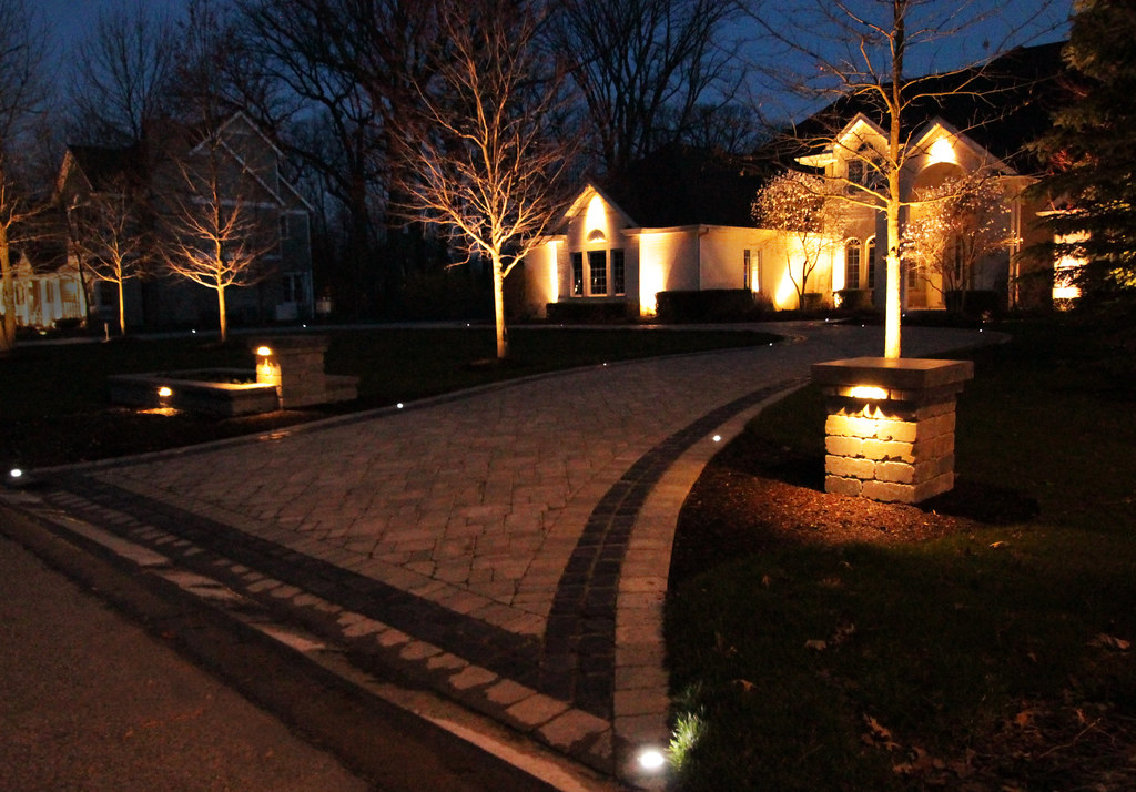 Paver Driveway And Led Lighting Landscape Lighting And