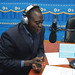 Journalist gives inaugural broadcast at Radio Hémicycle, Porto-Novo, Benin