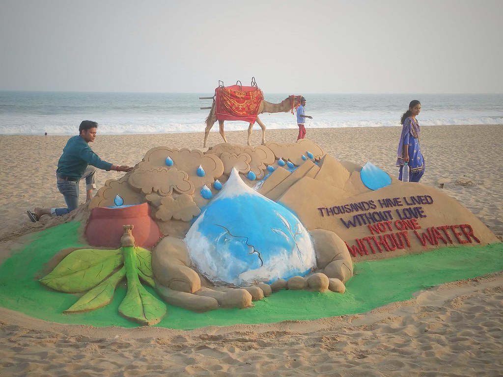 World Water Day Sand Sculpture By Manas Kumar Sahoo