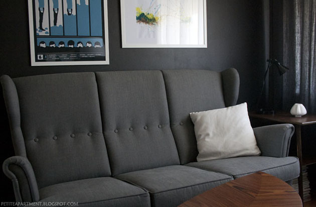 grey strandmon ikea sofa in living room with black grey wa. Black Bedroom Furniture Sets. Home Design Ideas