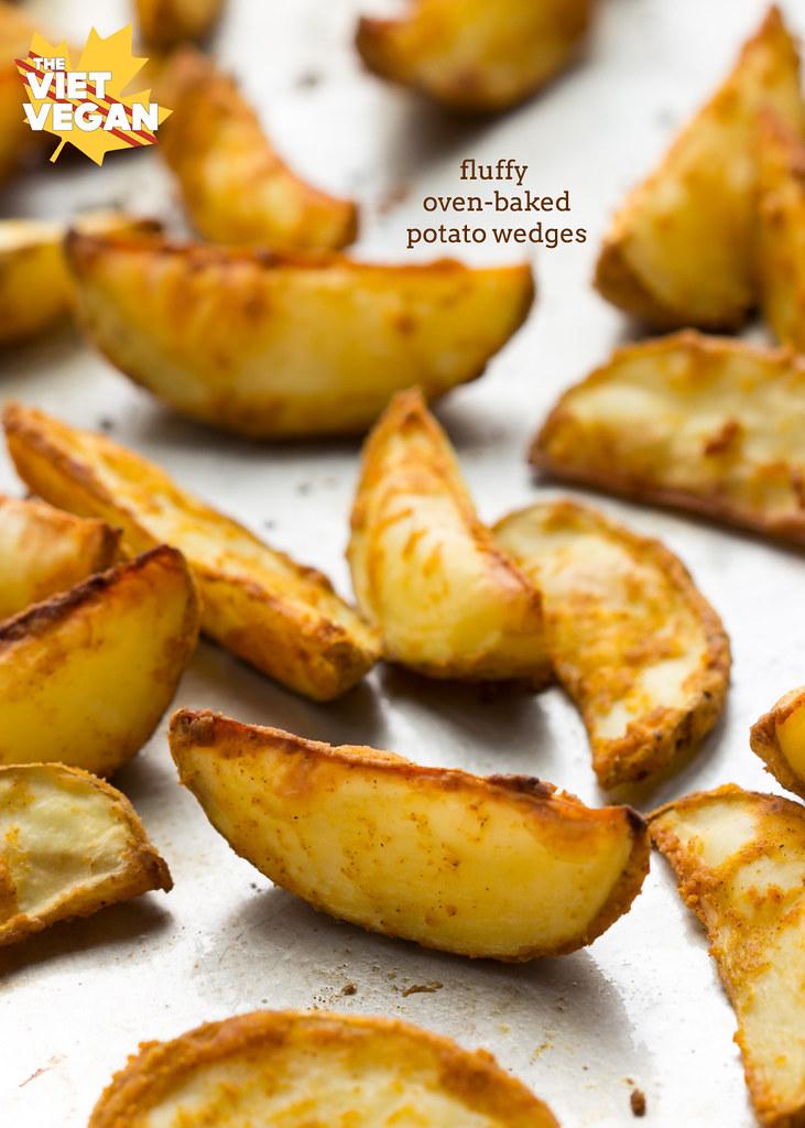 Vegan Fluffy Oven-Baked Potato Wedges | The Viet Vegan