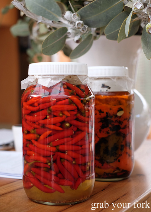 Pickled chillies at Geoff Jansz Farm Table Restaurant, Mittagong