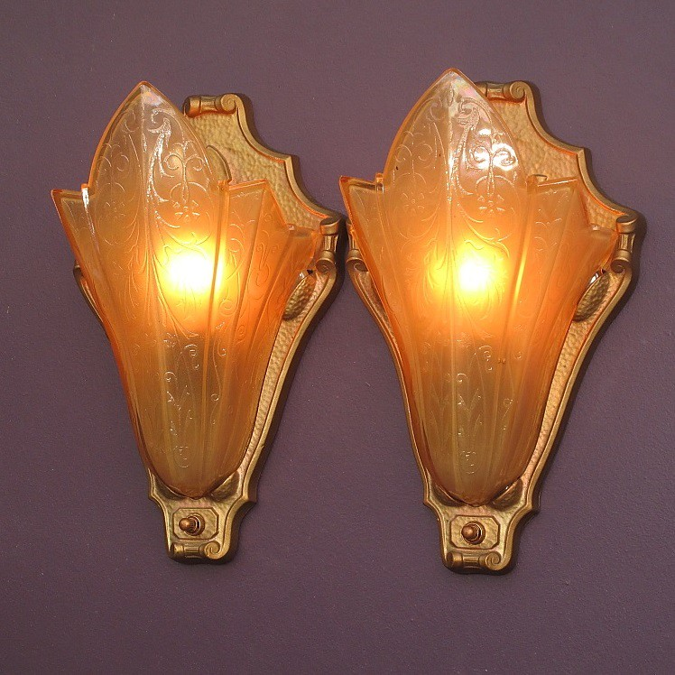 Home Theater Wall Sconces: *vintage Art Deco Home Theater Wall Sconces