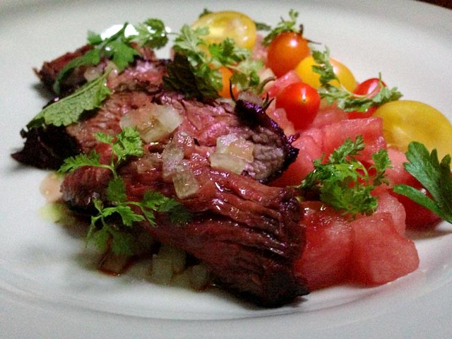 Grilled Hanger Steak Salad, Watermelon, Avocado Puree | Flickr - Photo ...