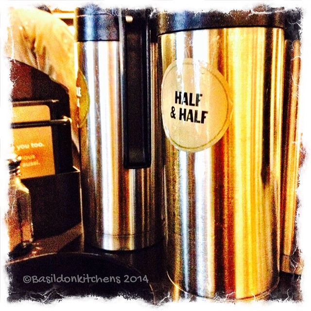 21/2/2014 - half & half {it's what I take in my coffee} #letterglow #photoaday #half&half #cream #coffee #starbucks