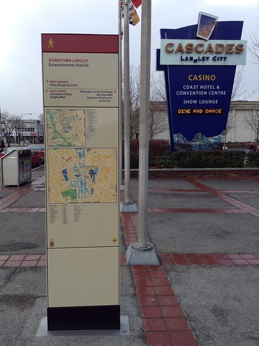Downtown Langley - Walking Map and Wayfinding Sign at Fraser Highway and Glover Road (Looking West)
