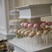 Side view of our tiered stand with pretty shimmery gold cake pops