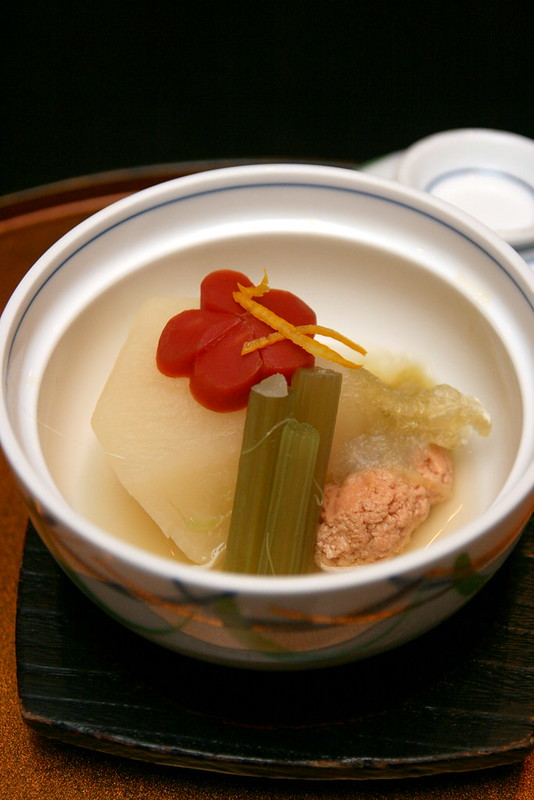 "Simmered dish: White radish, sea bream roe, ""Fuki"" vegetable and carrot"