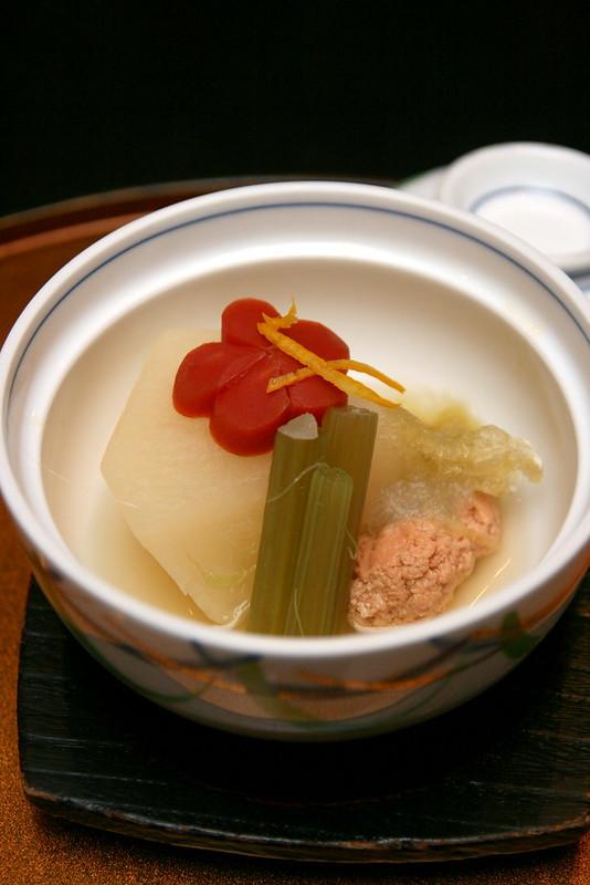"Simmered dish: White radish, sea bream roe, ""Fuki"" vegetable and carrot"