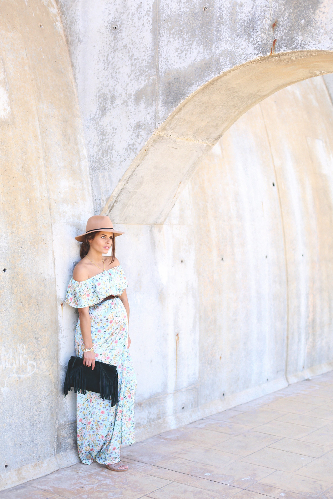 9. floral print long dress - jessie chanes - pregnancy