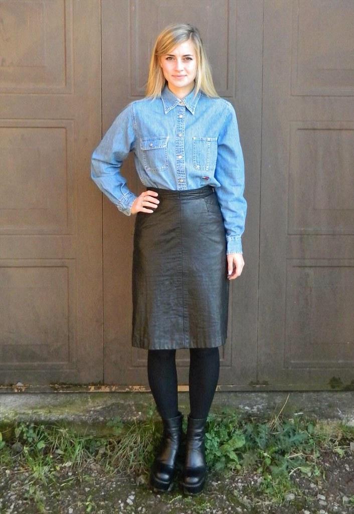 blue denim button up shirt black leather skirt ejt1977