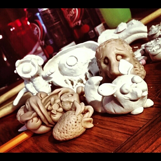 Our little creatures. @chainsaw_music #clay #sculptures #supersculpey #handmade #homemade #critters