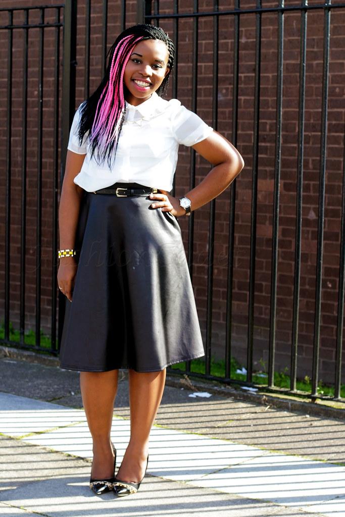 neoprene-trends-high-waist-a-line-skater-skirt-with-shirt-work-chic, uk blogger, african trend blogger, leopard print high heels, PU A-line skirt, PU skirt, faux leather skirt, faux leather A-line skirt