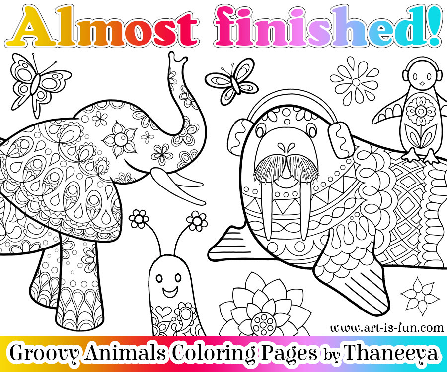 Sneak peek groovy animals coloring book by thaneeya mcard for Groovy coloring pages
