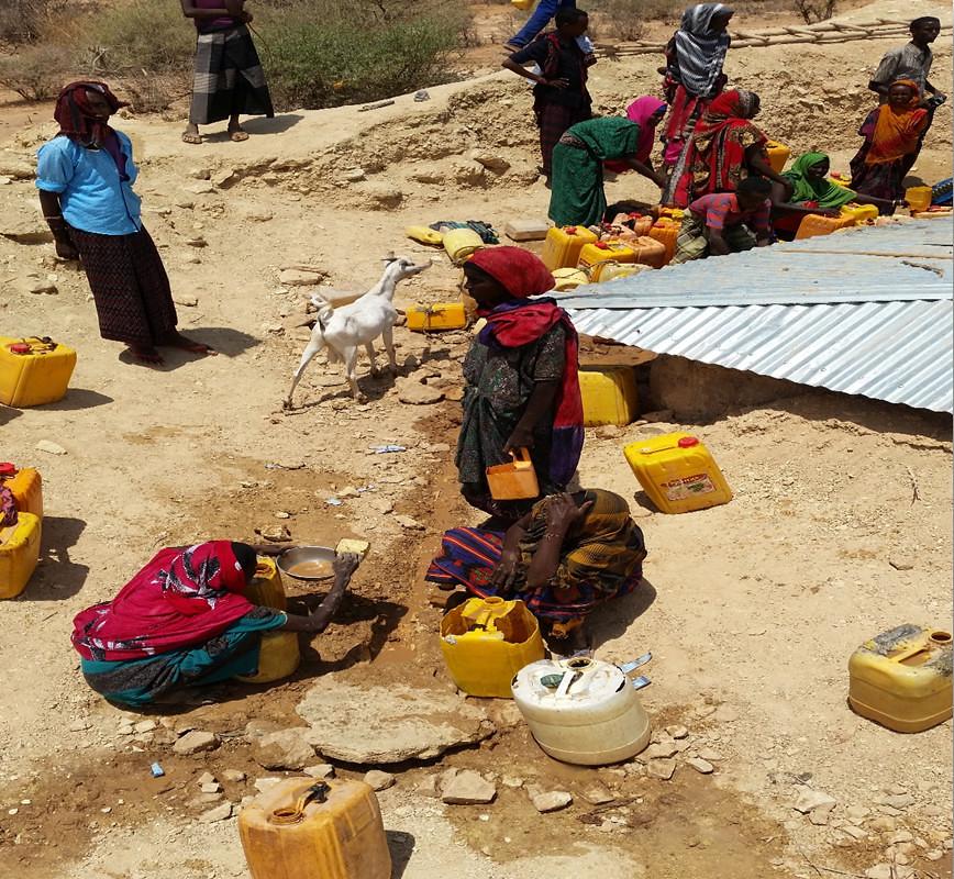 Esta es la nueva alberca donde reciben el agua no contaminada. Parece una triste ironía llamar a esto agua limpia; mirad sino a la mujer abajo a la izquierda que con un cacito y un plato recoge agua de entre el fango, donde orinan cabras y ovejas…